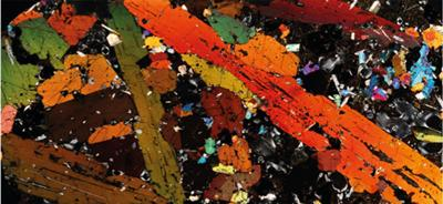 Petrological microscope view of a magma mush