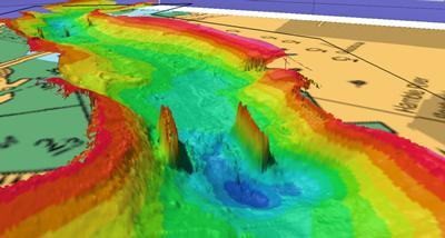 Multibeam sonar survey of scour features around two bridge piers