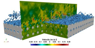 Figure 1: LBM-LES simulation of a porous medium made of spheres. Instantaneous Uz velocity field and iso-contour of the vorticity norm.