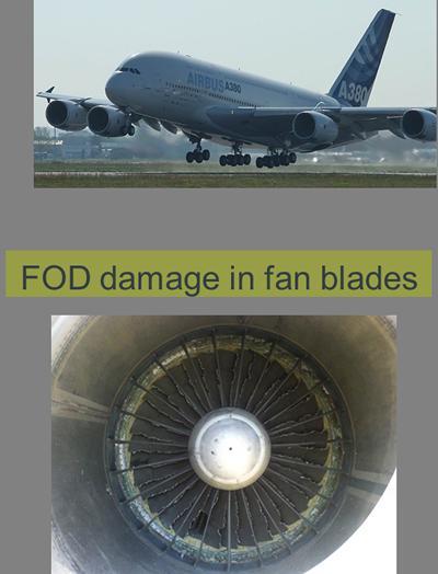 FOD damage in fan blades