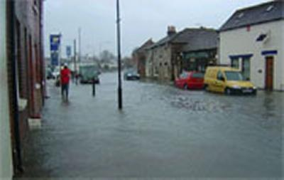 Flood waters surround properties in Emsworth near high water on 10 March 2008.