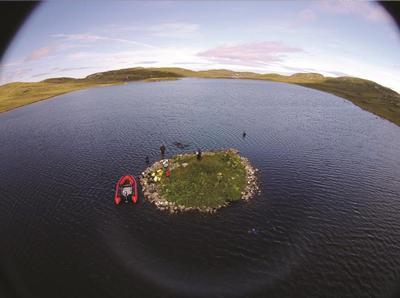 Aerial view of islet in Loch Langabhat. Credit: Fraser Sturt
