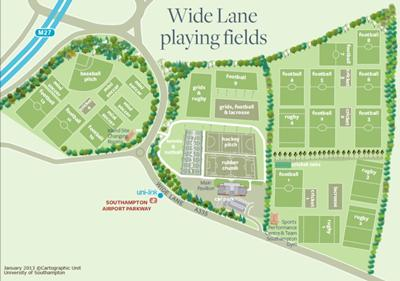 Wide Lane Sports Ground Map (click on map to enlarge)