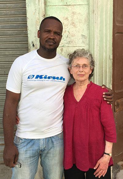 Project Director Elizabeth Dore and Mario, narrator