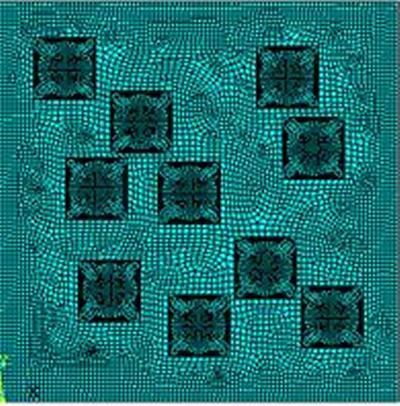 Computer model mesh of random pitting on a steel plate