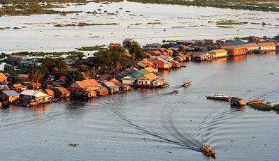 Floating village on the Tonle Sap Lake