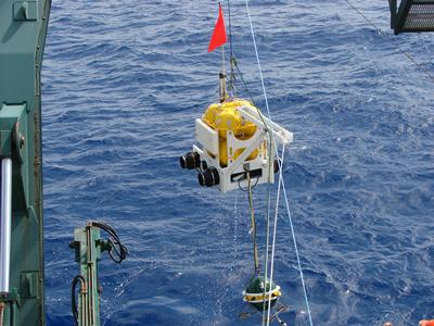 Ocean bottom seismometers being recovered.