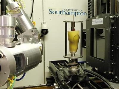 Residual limb model inside MicroCT scanner