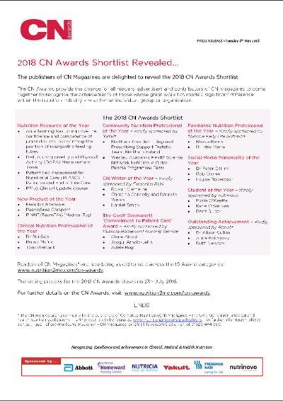 CN Awards 2018 Shortlist Press Release