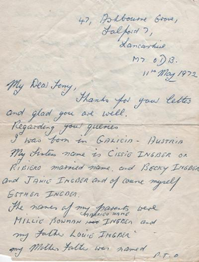 Letter of Esther Reece, Salford 7, to Tony Kushner, 11 May 1972