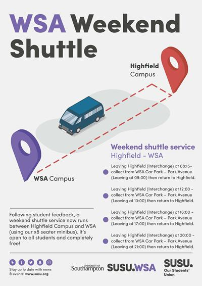 Poster advertising WSA shuttle