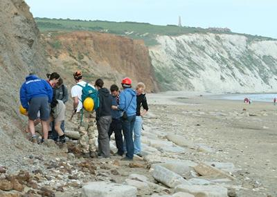 Geology club members on the Isle of Wight