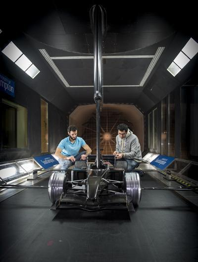 Testing race car aerodynamics in the R.J. Mitchell Wind Tunnel