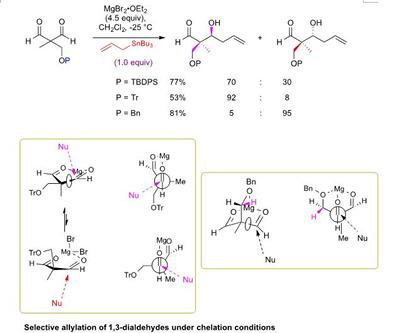 Selective allylation of 1,3-dialdehydes under chelation conditions