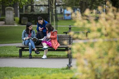 Students on bench