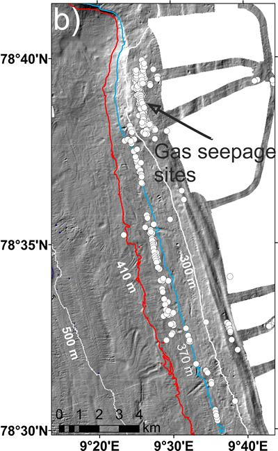 (b) Gas seeps on the upper slope (location within a black rectangular box in Figure 2a). The 370 and 410-m contours are the upper limit of methane hydrate stability limits at 2˚ and 3˚ C respectively.
