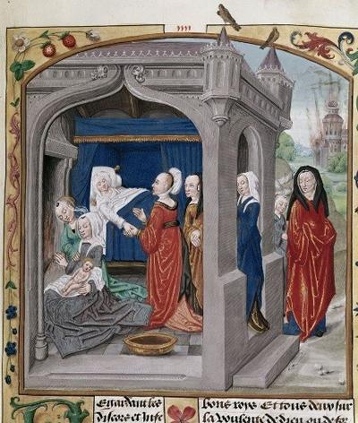 Detail of a miniature of the birth of Alexander the Great, from Historia Alexandri Magni, Netherlands (Bruges), c. 1485 - 1490, Royal MS 20 C III, f. 15r