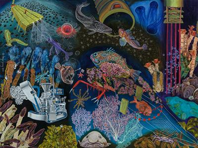Illustration of a multitude of potential deep-sea activities captured by artist Tanya Young (http://tanyayoungart.com/)