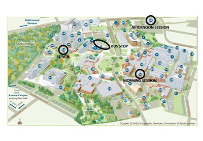 Annotated campus map