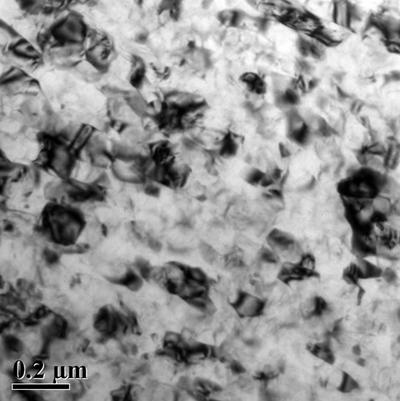 Transmission electron microscopy images of a 7xxx series aluminium alloy after severe plastic deformation by high pressure torsion