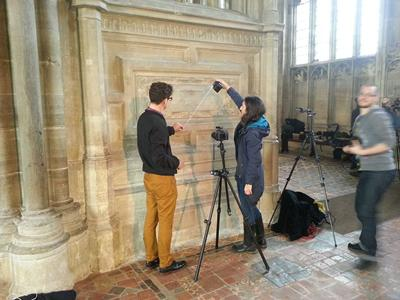 Mathew and Marta capturing a RTI of some graffiti on the Gradiner Chantry