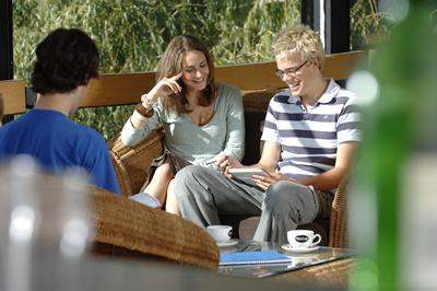 Students chatting outside