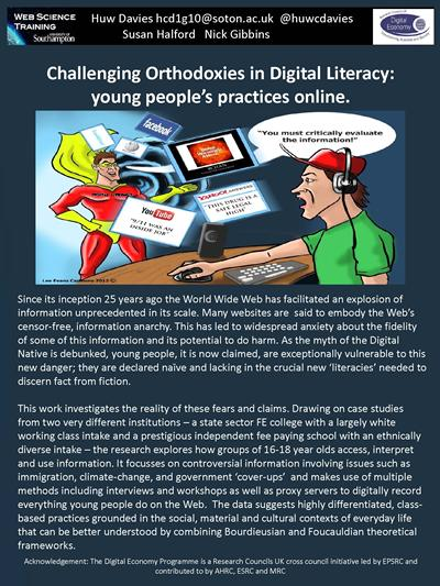 Challenging Orthodoxies in Digital Literacy: young people's practices online
