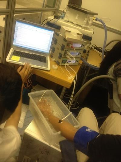 Testing blood flow change with a cold bath