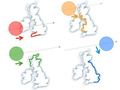 Four sea level events and tracks of storms and winds around UK