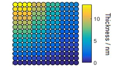 Figure 1:MoS2 thin film false colour image of thickness dependence.
