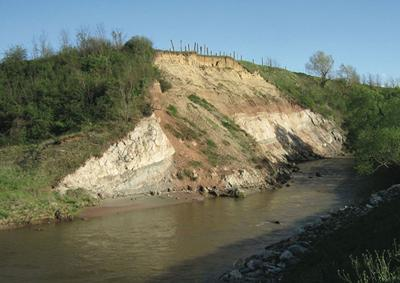 Prehistoric nesting site on the Sebeş River, Romania.