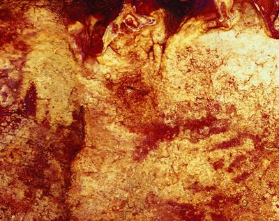Colour enhanced image of two Neanderthal hand stencils. Credit: H.Collado