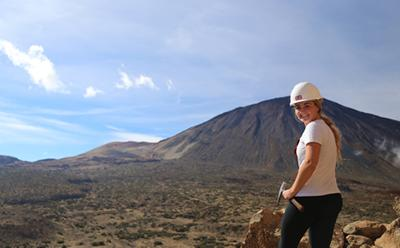Student in Tenerife at the top of a hill