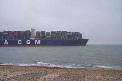 CMA CGM Marco Polo leaving the Solent, UK