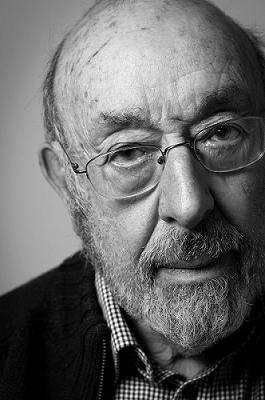 Black and white portrait photo of John Dobai in 2017