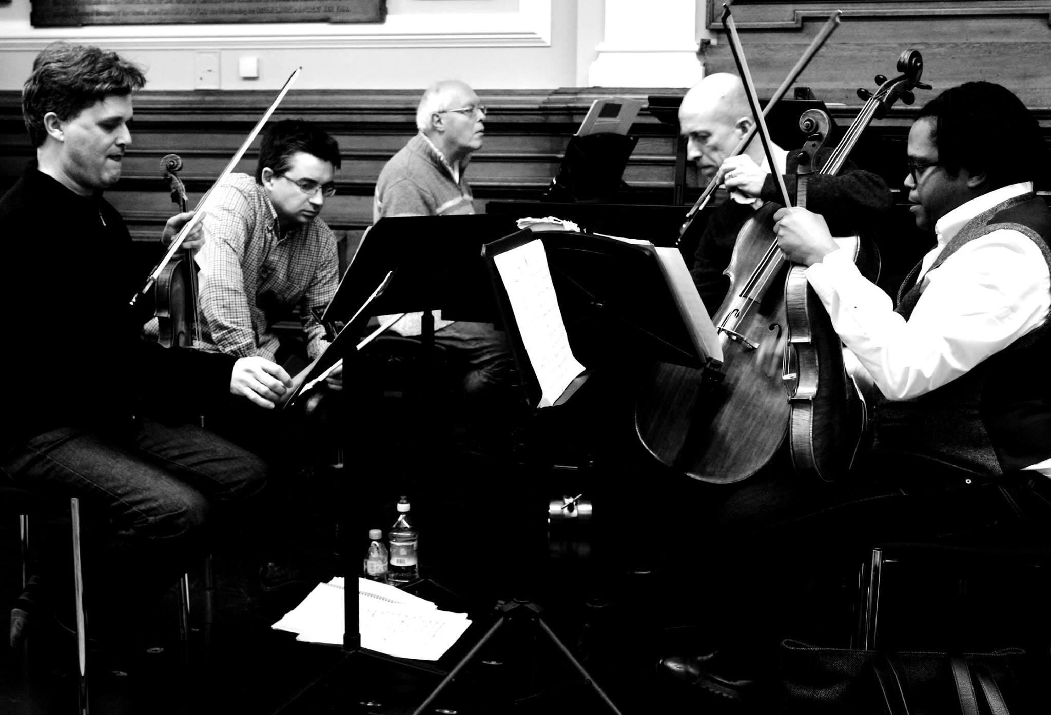 Rehearsing the piano quintet