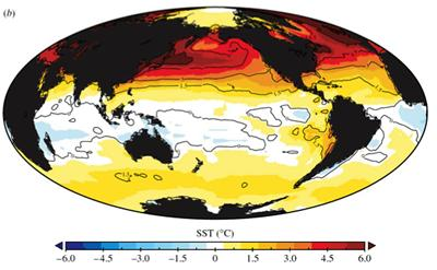 The reconstructed sea-surface temperature anomaly (relative to present) for the Pliocene Warm Period (from Dowsett and Robinson, 2008 doi:10.1098/rsta.2008.0206