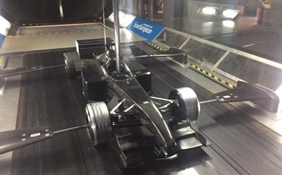 Wind Tunnel with a racing car on the runway