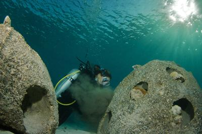 Lucy working on an artificial reef