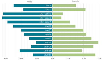 Table A: Current balance of our workforce by gender and grade