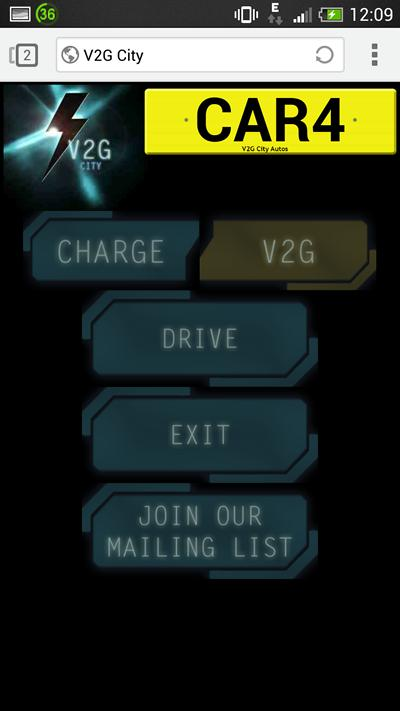 Smartphone V2GCity Control Screen