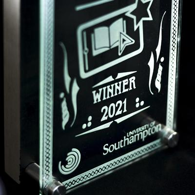 Engraved award trophy with text 'VLE Awards Winner 2021 University of Southampton'