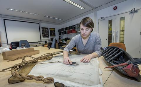 Student studying archaeology
