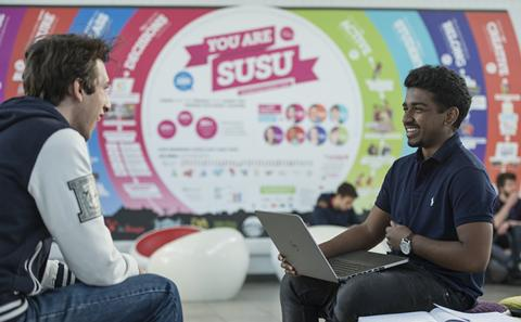 Students chatting in Students Union