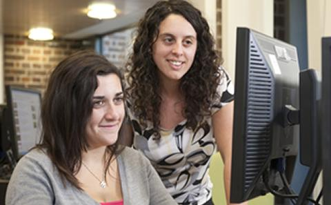 Students at a computer