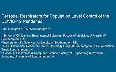 Link to open access paper: Personal Respirators for Population Level Control of the COVID-19 Pandemic