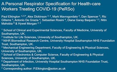 Link to open access paper: A Personal Respirator Specification for Health-care Workers Treating COVID-19 _PeRSo)