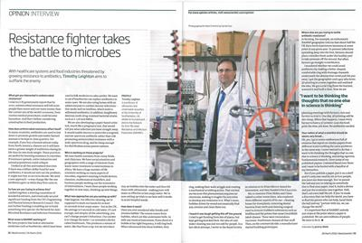 Image of New Scientist article featuring Tim Leighton and NAMRIP