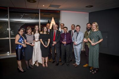 Winners and representatives from each winning team with the Vice-Chancellor