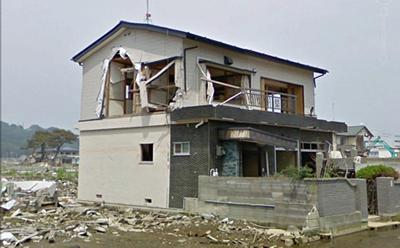 Tsunami damage to a timber framed building in Ishinomaki, Japan